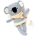 Nóz, csíkos harisnyás koala - szürke, antracit, mustársárga, világoskék, Játék, Baba-mama-gyerek, Plüssállat, rongyjáték, Játékfigura, Pamut anyagokból varrtam ezt a jókedvű koalát, saját dizájn alapján.  Minden apró részlet alapos gon..., Meska