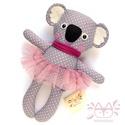 Maja, pettyes koala lány tütüben - szürke, antracit, rózsaszín, fehér, Pamut anyagokból varrtam ezt a jókedvű koalát,...