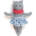 Luca, öltöztethető karácsonyi macska leány kifordítható, kétoldalas szoknyában - szürke, kék, piros, fehér, Pamut anyagokból varrtam ezt a jókedvű cicát, ...