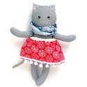 Lizi, öltöztethető karácsonyi macska leány kifordítható, kétoldalas szoknyában - szürke, kék, piros, fehér, Pamut anyagokból varrtam ezt a jókedvű cicát, ...