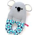Koala csörgő babakézbe - Öko-Tex pamut szürke kék türkiz, virágos, szívecskés, Játék, Baba-mama-gyerek, Baba játék, Játékfigura, Öko-Tex szabványnak megfelelő, egészségre káros anyagokkal nem kezelt, 100% pamut anyagokból varrtam..., Meska