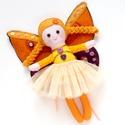 Pillelány tündér - apró, öltöztethető textilbaba tündér kézzel készült szárny, Játék, Baba-mama-gyerek, Plüssállat, rongyjáték, Játékfigura, Pamut és filc anyagokból varrtam ezt az apró tündért, saját dizájn alapján.   SzöszTündérkémhez szal..., Meska