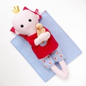 Pelenkázható puha kisbaba pizsamában, alvóállatkával - öltöztetős, piros, világoskék, cseresznyés , pelenkás, Játék, Baba-mama-gyerek, Baba, babaház, Baba játék, Pamut anyagokból varrtam ezt a mosolygós kisbabát, saját dizájn alapján.   Pelenkás babáinkat ajánlj..., Meska