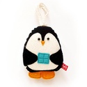 Puha kis pingvin karácsonyi mintás hátoldallal, akasztós - fekete, fehér, kék, arany, Játék, Dekoráció, Ünnepi dekoráció, Karácsonyi, adventi apróságok, Karácsonyi dekoráció, Új pamut anyagokból és filc rátétekből varrtam ezt a pingvint, saját dizájn alapján.   Alkalmas játé..., Meska