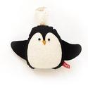 Puha kis pingvin karácsonyi mintás hátoldallal, akasztós - fekete, fehér, kék, Dekoráció, Ünnepi dekoráció, Karácsonyi, adventi apróságok, Karácsonyi dekoráció, Új pamut anyagokból és filc rátétekből varrtam ezt a pingvint, saját dizájn alapján.   Alkalmas játé..., Meska