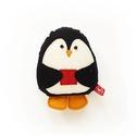 Puha kis pingvin karácsonyi mintás hátoldallal - fekete, fehér, kék, Dekoráció, Ünnepi dekoráció, Karácsonyi, adventi apróságok, Karácsonyi dekoráció, Új pamut anyagokból és filc rátétekből varrtam ezt a pingvint, saját dizájn alapján.   Alkalmas játé..., Meska