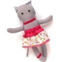 Virágos Gréti, öltöztethető macska leány kifordítható, kétoldalas szoknyában - szürke, kék, piros, fehér, Játék, Baba-mama-gyerek, Plüssállat, rongyjáték, Játékfigura, Pamut anyagokból varrtam ezt a jókedvű cicát, saját dizájn alapján.  Minden apró részlet alapos gond..., Meska