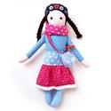 Dorka - öltöztethető Miaszösz nagylány kistáskával, Játék, Baba-mama-gyerek, Baba, babaház, Játékfigura, Színvilágban egymással harmonizáló pamut anyagokból varrtam ezt a nagylányos babát, saját dizájn ala..., Meska