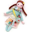 Ilka - öltöztethető Miaszösz nagylány , Játék, Baba-mama-gyerek, Baba, babaház, Játékfigura, Színvilágban egymással harmonizáló pamut anyagokból varrtam ezt a nagylányos babát, saját dizájn ala..., Meska