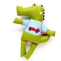 Loccs - kroki csíkos pólóban, Játék, Baba-mama-gyerek, Plüssállat, rongyjáték, Játékfigura, Új, pamut anyagokból varrtam ezt a jókedvű krokodilt, saját dizájn alapján. Minden apró részlet alap..., Meska