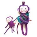 Mamajom és Kuglóf - baba-mama hordozós lila majom, Játék, Baba-mama-gyerek, Plüssállat, rongyjáték, Játékfigura, Pamut anyagokból varrtam ezt a jókedvű párost, saját dizájn alapján.   Akinek szívügye a babahordozá..., Meska