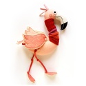Flamingó csíkos nyaksálban, Játék, Baba-mama-gyerek, Otthon, lakberendezés, Plüssállat, rongyjáték, Új, pamut anyagokból varrtam ezt a jókedvű flamingót, saját dizájn alapján. Minden apró részlet alap..., Meska
