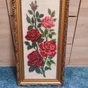 Rózsás gobelin, Művészet, Más művészeti ág, Hímzés, Édesanyám álltal hímzett gobelin,amely nagyon igényes, egyenletes öltésekkel lett kivarva. A kép ke..., Meska