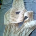 fehér csillogás, Ruha, divat, cipő, Női ruha, Ezüstösen csillogó téli szett. A sál 160cm hosszú és 28 cm széles. , Meska