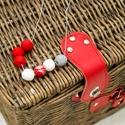 golyós nyaklánc piros-fehér-ezüst, Ékszer, Nyaklánc, Ékszerkészítés, Gyurma, Süthető gyurmából készült női nyaklánc.  Tökéletes ajándék lehet születésnapra, névnapra vagy csak ..., Meska