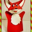 Róka kézbáb, Baba-mama-gyerek, Játék, Báb, Játékfigura, A ravasz róka, nagyon sok mese ismert kedves figurája. Anyaga: piros, fehér filc. Ez a figura is lap..., Meska