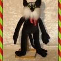 Fekete kitömött macska, Baba-mama-gyerek, Játék, Gyerekszoba, Plüssállat, rongyjáték, E kedves puha plüss macska, sok mese alakja lehetne. Szeretni-való kabala állat, gyerekeknek és feln..., Meska