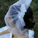 Kalitka fátyol, Esküvő, Hajdísz, ruhadísz, Kalitka fátyol, nagyon világos ivory színű. A tetején szatén rózsák, gyöngyök és üveg kr..., Meska