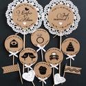 12 ... Esküvő, Dekoráció, Otthon, lakberendezés, Konyhafelszerelés, 12 db süti/ tortadekor esküvőre. Rusztikus, vintage stílus kraft papírral, csipkével. Díszíthetsz ve..., Meska