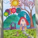 Színes kutyusos kép gyerekszobába, Baba-mama-gyerek, Képzőművészet, Gyerekszoba, Baba falikép, Festészet, Egyedi, alapozott (nem feszített) vászonra akvarell festékkel festett vidám hangulatú kutyás kép. K..., Meska