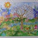 Erdei élet- nagy méretű akvarell festmény, Baba-mama-gyerek, Képzőművészet, Gyerekszoba, Baba falikép, Festészet, Egyedi, nagy méretű kép, akvarell papírra vízfestékkel festve. Kimondottan gyermek szobába gondolta..., Meska