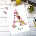 Virágmintás monogram falikép, Dekoráció, Baba-mama-gyerek, Gyerekszoba, Baba falikép, Fotó, grafika, rajz, illusztráció, Viragmintas kep, ami remek disze lehet a gyerekszobanak.  A kep, vastag A4-es decor papirra kerul k..., Meska