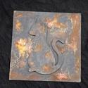 Cicás falikép, Otthon, lakberendezés, Falikép, Rozsdás vas hatású (valódi rozsdával) fa lapra készült cicás falikép. Mérete 15 cm x 15cm ..., Meska
