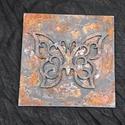 Rozsdás 3D pillangó/lepke falikép, Dekoráció, Otthon, lakberendezés, Falikép, Rozsdás vas hatású (valódi rozsdával) fa lapra készült pillangós falikép. Mérete 15 cm x 1..., Meska