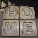 3D Home felirat fa táblákon, Dekoráció, Otthon, lakberendezés, Falikép, Famegmunkálás, Festett tárgyak, Egyedi tervezésű, kézzel készített HOME felirat, 4 db 15cm x 15cm méretű fa táblán. A 4 betű tetsző..., Meska