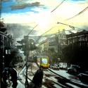 Őszi hajnal a városban, Otthon, lakberendezés, Falikép, Feszített vászon keret nélkül, 70X50cm. Akrillal festve.  , Meska