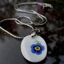 kék virág, Ékszer, óra, Nyaklánc, Csiszolt porcelán nikkelmentes ezüst színű láncon., Meska