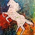 Maszatoló, Otthon, lakberendezés, Falikép, Akrillal festett  50X40cm-es feszített vászon amely ki van ékelve. Manapság egy fehér ló se ti..., Meska