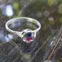 Virágos  ezüst gyűrű, Ékszer, óra, Karkötő, 925-ös finomságú ezüst gyűrű alapban csiszolt porcelán. Gyűrű mérete: 60,8mm az az 61es. g..., Meska