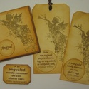 Angyal-kedvelőknek:- napló - könyvjelző(ajándékkísérő) - angyal, Naptár, képeslap, album, Könyvjelző, Ajándékkísérő, Karácsonyi, adventi apróságok, Papírművészet, Vendégeid, szeretteid ajándéka lehet az angyal bélyegzőmintával díszített kis napló, melybe angyal ..., Meska