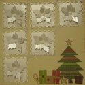 Mikulásvirággal díszített négyzet alakú ajándékkísérő - szalagra fűzhető dekoráció, Naptár, képeslap, album, Karácsonyi, adventi apróságok, Ajándékkísérő, képeslap, Karácsonyi dekoráció, Papírművészet, Nagyon sok féle ajándékkísérőt találsz boltomban, melyet saját elképzelésed szerint is összeválogat..., Meska