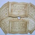Egyedi dombormintás, tintázott Merry Christmas felirat - könyvalakú ajándékkísérőn, Naptár, képeslap, album, Asztaldísz, Karácsonyi, adventi apróságok, Ajándékkísérő, képeslap, Karácsonyi ajándékod kísérője lehet a tintázással készült dombormintás könyvformájú aj..., Meska