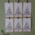 Tintázott egyedi karácsonyi ajándékkísérő  - hópelyhes karácsonyfa, Naptár, képeslap, album, Karácsonyi, adventi apróságok, Ajándékkísérő, képeslap, Karácsonyi dekoráció, Nézz körül eladott termékeim között is, többféle ajándékkísérőt (karácsonyfadíszt) ta..., Meska