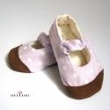 Lila pöttyös cipő bőr talppal, pelleva megrendelésére készült, lányá első ...