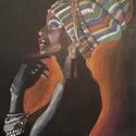 Black woman, Dekoráció, Képzőművészet, Grafika, Rajz, Fekete kartonra készült vegyes technikával. Nagyon aprólékos, élőben sokkal mutatósabb :) Mi..., Meska