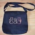 Cicás farmer táska, Cicás táska Farmerből készült táska, tetejé...