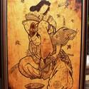 Japán stílusú falikép, Dekoráció, Otthon, lakberendezés, Kép, Falikép, Famegmunkálás, A kép mérete: 92 x 62 cm  kerettel együtt. Anyaga rétegelt falap. A kép pirográfia, kézzel égetett ..., Meska