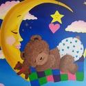 Mackó a gyerekszobába, Képzőművészet, Festmény, Akril, Fényes akrilfestékkel keszült, kasírozott vászonra. Mérete: 40x50 cm., Meska