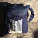 Farmer-kék táska, Baba-mama-gyerek, Táska, Válltáska, oldaltáska, Farmer anyag és kék szövet kombinációjából született ez a  táska.Pamut csipke és  pöttyö..., Meska