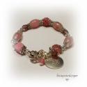 Romantikus pasztell rózsaszín karkötő shamballával., Ékszer, óra, Karkötő, Kerámia , roppantott, újrahasznosított üveg gyöngyökből áll és középen egy shamballa gyö..., Meska