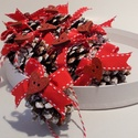 Havas piros  toboz dísz, Dekoráció, Karácsonyi, adventi apróságok, Ünnepi dekoráció, Karácsonyfadísz, 10 db toboz dísz, melyeket előzőleg gondosan mostam és szárítottam,majd akril festékkel kente..., Meska