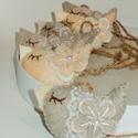 Romantikus csipkés madárkák, Dekoráció, Otthon, lakberendezés, Ünnepi dekoráció, Húsvéti apróságok, 6 db.-ból álló szett .Stone beige, melír beige és beige színű filcből készültek , méretük: kb. 4,5×7..., Meska