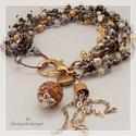 Arany - Ezüst, Ékszer, Karkötő,  A karkötő 18,5 cm hosszú, 5 soros .Arany, ezüst és réz színek jellemzik, 2 -3 -4 mm-es üveg..., Meska