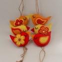 Piros - sárga madárkák, 6 db.-ból álló szett .Méretük :kb. 8×4 cm . ...