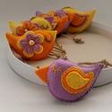 Lila- sárga madárkák, 6 db.-ból álló szett .Méretük :kb. 8×4 cm . ...
