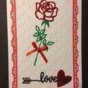 Szerelmes, Valentin napi képeslap 7. rózsa, szív, Valentin nap, Mindenmás, Naptár, képeslap, album, Szerelmeseknek, Képeslap, levélpapír, Kivágással és domborítással  készítettem ezt a kinyitható Valentin napi üdvözlőlapot. Bor..., Meska